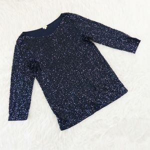 J.Crew Factory Blue Sequin 3/4 Sleeve Top